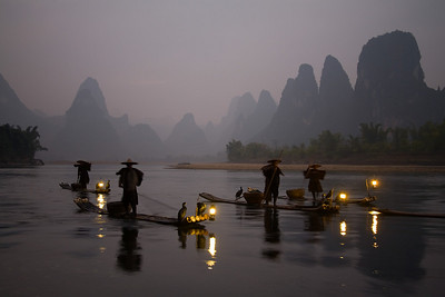 Fishermen with cormorants in Guilin, Guangxi Province, China