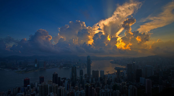 Sunrise over Victoria Peak, Hong Kong