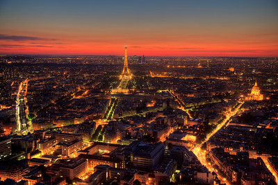 Eiffel Tower and Paris after sunset