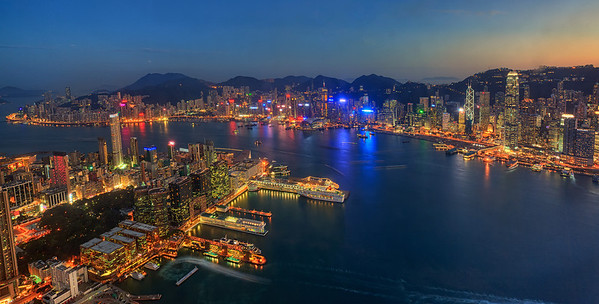 Hong Kong at dusk, from Sky100