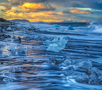 Icy Beach, Jokulsarlon, Iceland, March 2015